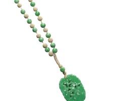 1630. 天然翡翠配珍珠「幸福如意」項鏈