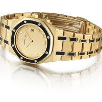 18. audemars piguet   royal oak a yellow gold,enameland diamond-setwristwatch with date and bracelet,circa 2000