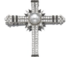 26. cultured pearl, onyx and diamond pendant