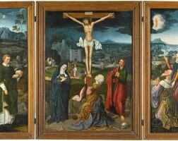 9. antwerp master, circa 1515-20andjoachim patinirdinant (?) or bouvignes circa 1480 - before 5 october 1524 antwerp | a triptych: the crucifixion (central panel);saint leonard (left wing); augustus and the tiburtine sibyl (right wing)