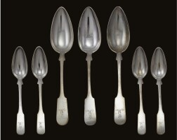 37. an assembled set of royal german silver spoons, ernst friedrich kemnis and wilhelm conrad josef lameyer, hanover, circa 1850-60