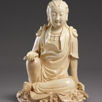 3011. a large inscribedzhangzhou crackle-glazed figure of guanyin ming dynasty, wanli period, dated 1615 |