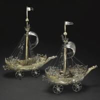 9. 德國銀胎局部鎏金帆船造型酒杯 蓋約·穆納製造,紐倫堡, 1624-29年 |