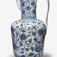 110. an exceptionally rare and important blue and white ewer xuande mark and period |