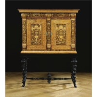210. a fine anglo-dutch walnut, olive, birch, satinwood and fruitwood marquetry cabinet on stand william and mary, circa 1700