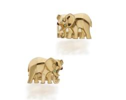 38. pair of gold and gem-set cufflinks, cartier, france
