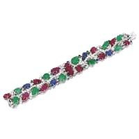 1860. 寶石配鑽石手鏈, 'tutti-frutti', 卡地亞(cartier)