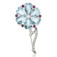 39. aquamarine, ruby and diamond brooch