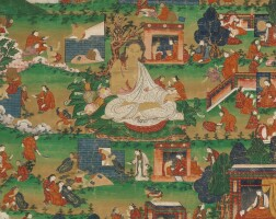 409. a thangka depicting scenes from the life ofmilarepatibet, 19th century
