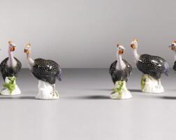 38. eight meissen figures of guinea fowl,circa 1741 |