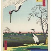 22. utagawa hiroshige i (1797–1858)minowa, kanasugi, mikawashima edo period, 19th century | new year's eve foxfires at the changing tree (oji shozoku-enoki omisoka no kitsunebi), from the series one hundred famous views in the various provinces (shokoku meisho hyakkei), edo period, circa 1857
