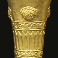 11. sicán gold beaker with shells ca. a.d. 900-1100