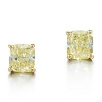 7. pair of fancy yellow diamond earrings, graff