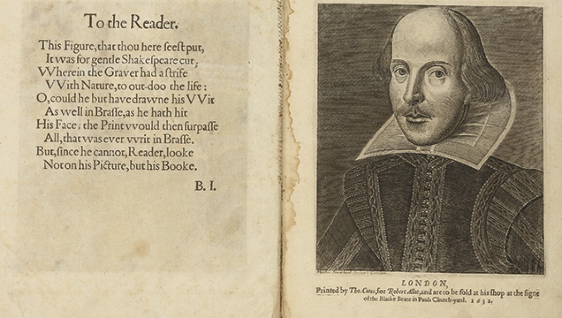 Image of Shakespeare in the opening of a book.