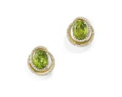 234. pair of peridot and diamond earrings