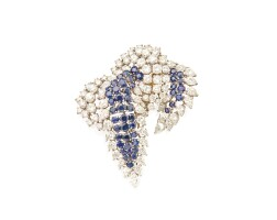 486. platinum, sapphire and diamond brooch, cartier