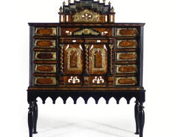 47. an italian brass mounted walnut, ebonised and ivory inlaid cabinet on stand circa 1700