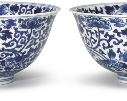 322. a fine pair of blue and white 'peony' bowls marks and period of kangxi