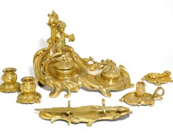 3. a group of louis xv style gilt-bronze desk accessories 19th century