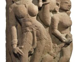 911. a red sandstone doorjamb panel (pedya) depictinga river goddess india, 10th century  