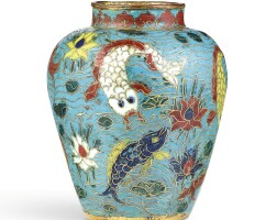 3412. an extremely rare small cloisonne enamel 'fish' jar mark and period of jiajing |
