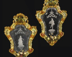 25. a pair of italian rococo carved, laccapovera and etched glass girandoles, venice, mid-18th century