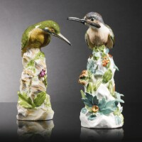11. two meissen figures of kingfishers one circa 1735, the other probably later