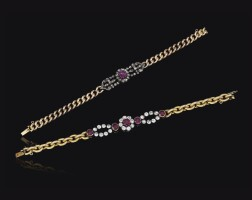 34. two ruby and diamond bracelets, late 19th century, composite