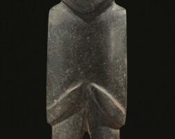 12. tall mezcala stone figure, type m12, late preclassic, ca. 300-100 b.c.