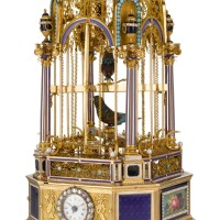38. frères rochat & rémond, lamy, mercier & co., genève   amagnificent and exceptionally rareminiature gold, enamel and diamond-set hour striking musicaldouble singing bird cage with timepiececirca 1815