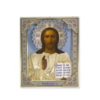 457. an imperial silver-gilt and cloisonné enamel icon of christ pantocrator, grachev, st petersburg, 1894