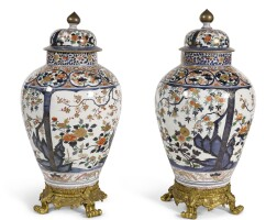 23. a pair of gilt-bronze mounted japanese imari baluster vases and covers, edo period, late 17th/early 18thcentury, the mounts probably viennese, 19th century