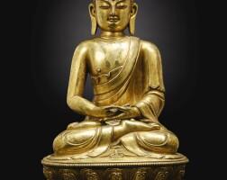 67. a gilt-bronze figure of shakyamuni buddha ming dynasty, early 15th century
