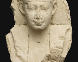10. an egyptian stuccovotive bust of a king, early ptolemaic period, circa 305-200 b.c.