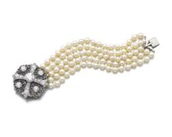 32. 鑽石珠寶,19世紀末,及養殖珍珠手鏈一條