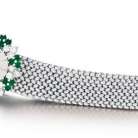 20. piaget | reference 935004 a white gold, diamond and emerald-set bracelet watch, circa 1990