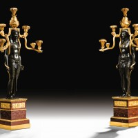 27. a pair of mercury gilt-bronze, patinated bronze and 'rouge griotte' marble egyptian candelabra, french consulat, circa 1803, made under the direction of martin-éloi lignereux  