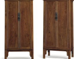 3647. a pair of southern elm (jumu) round-cornered tapered cabinets, yuanjiaogui qing dynasty, 18th – 19th century