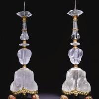 7. 意大利珊瑚鑲紅銅鎏金白水晶燭台一對 十七世紀上半葉,巴勒摩,應由托馬斯·蓬佩亞努與馬爾齊奧·卡左拉製造 |