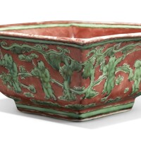 519. a red and green-enameled 'boys' square bowl jiajing mark and period  