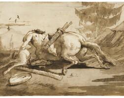44. giovanni domenico tiepolo | a centaur embracing a fauness