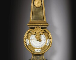 28. a french restauration gilt-bronze and boulle brass-inlaid brown tortoiseshell and ebony barometer, circa 1830  