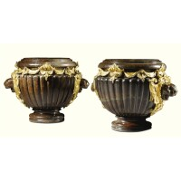 7. a pair of gilt-bronze and red jasper urns, paris, possibly by beurdeley circa 1870