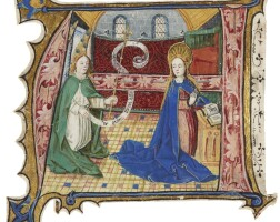 12. the annunciation to the virgin, historiated initial from a choirbook, in latin [southern netherlands (ghent or bruges)], dated 1471