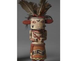 9. a hopi polychrome wood kachina doll, depicting honan