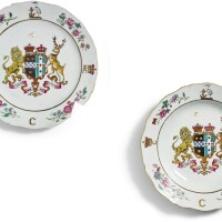 302. two chinese export armorial plates, qing dynasty, qianlong period, circa 1772 |