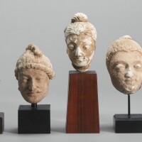 1302. a group of seven stucco and terracotta heads ancient region of gandhara, kushan period, 4th/5th century