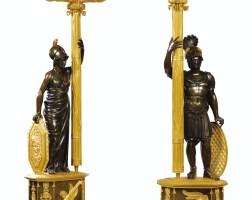 11. paire de candélabres mars et minerve en bronze patiné et doré d'époque empire, attribuée àclaude etgérard-jean galle