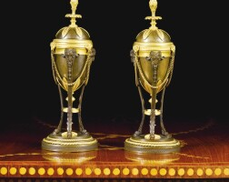 306. a pair of late george iii patinated bronze and ormolu cassolettes