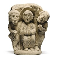 102. french, probably northern burgundy,first half 12th century | stone capitaldepicting christ among the doctors